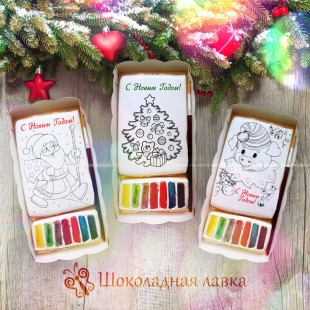 Новогоднее печенье-раскраска