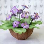 """Букет из сахарных цветов """"Фиалка"""" 15 см, 370 гр."""